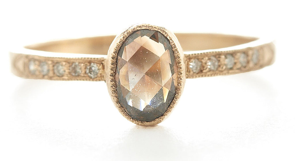 Hewn Oval Cognac Diamond Pave Ring
