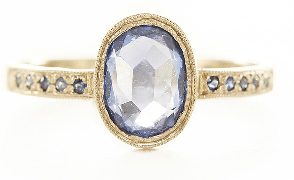 Hewn Oval Sapphire Pave Ring