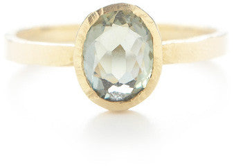 Hewn Oval Green Sapphire Ring