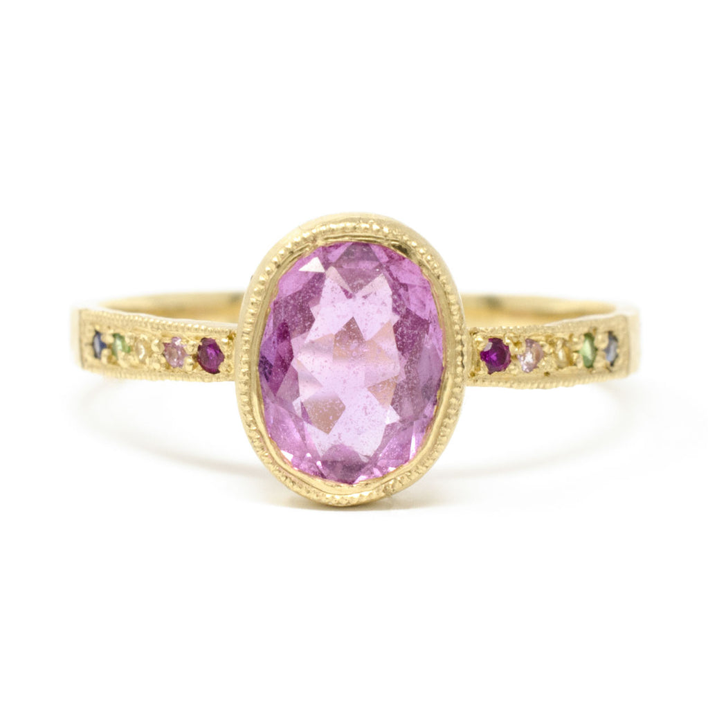 Hewn Oval Pink Sapphire Rainbow Ring