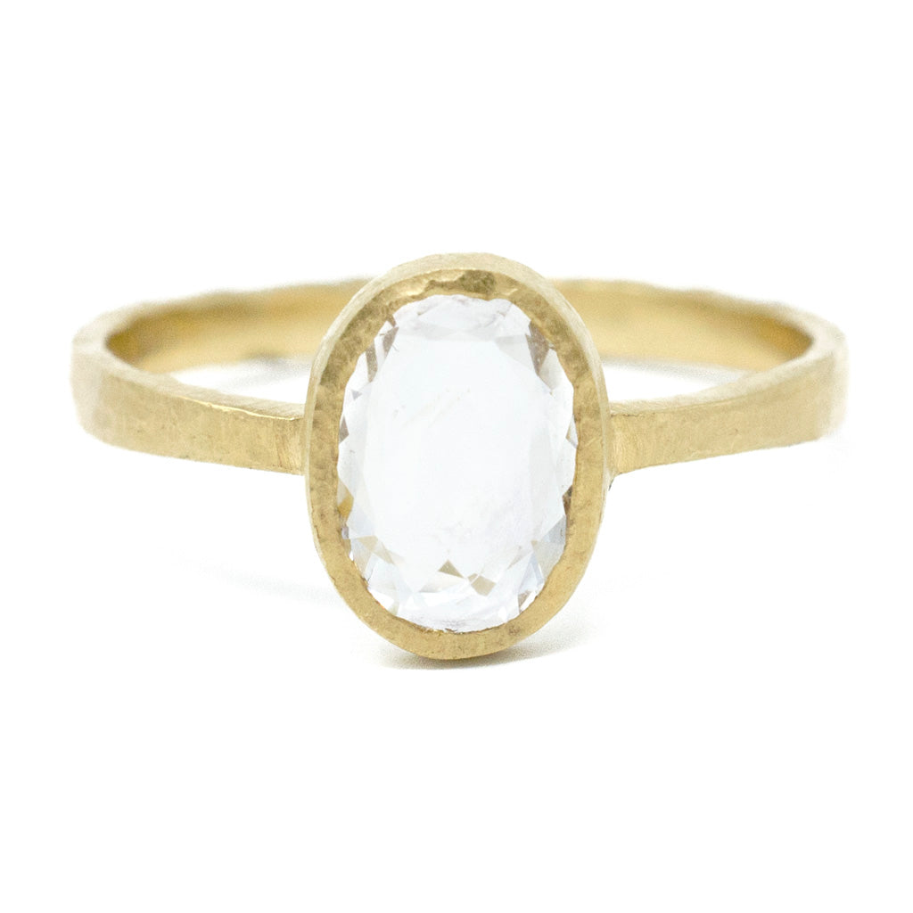 Hewn Oval White Sapphire Ring
