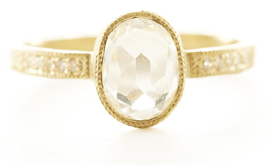 Hewn Oval White Sapphire Pave Ring