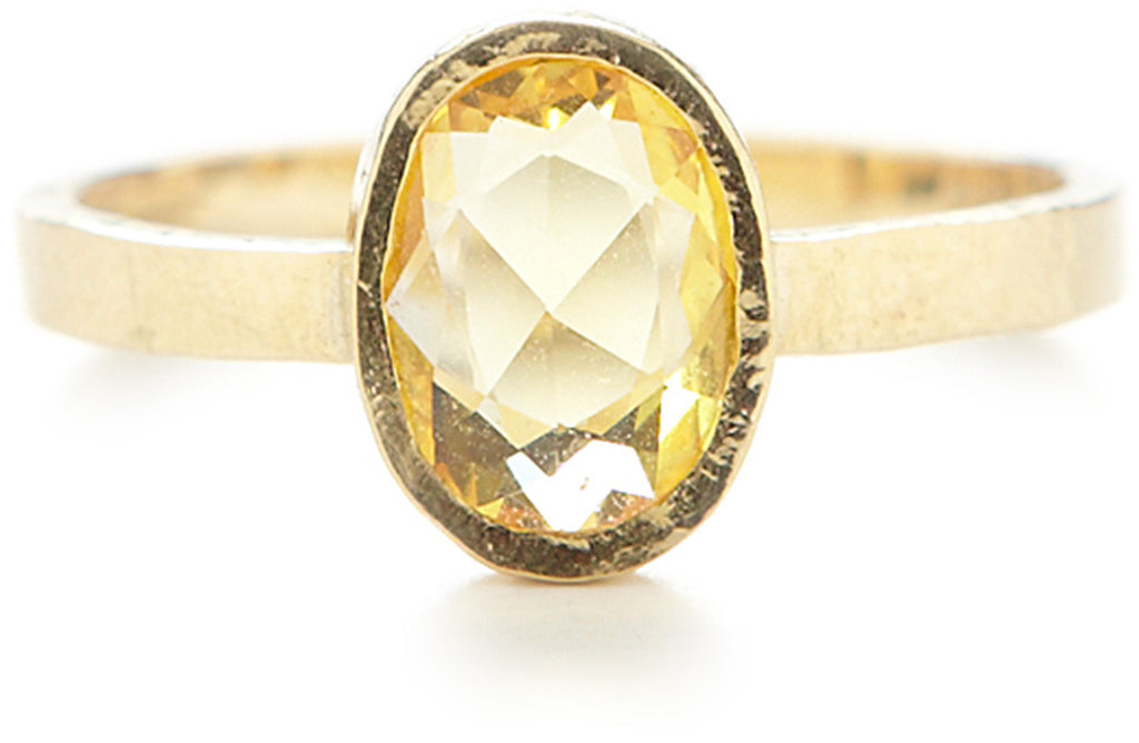 Hewn Oval Yellow Sapphire Ring