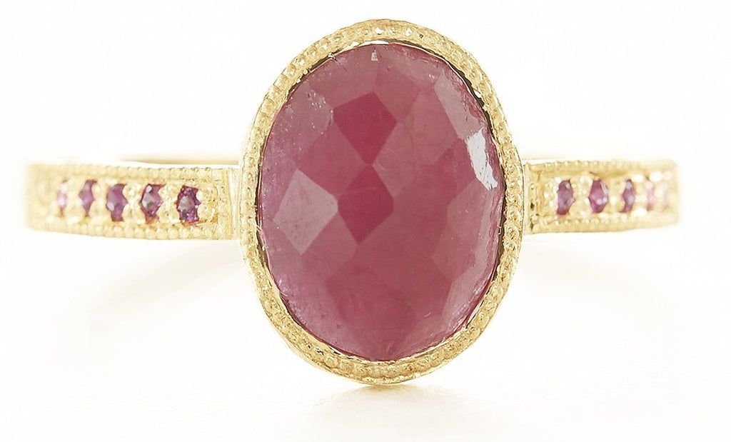 Hewn Oval Ruby Pave Ring