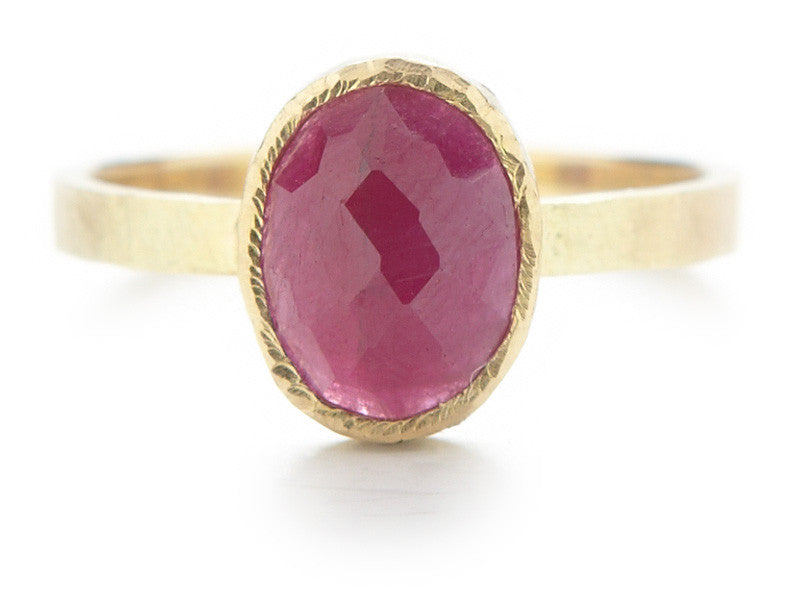 Hewn Oval Ruby Ring
