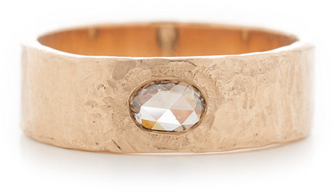 Hewn Plain Cognac Diamond Band