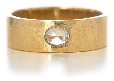 Hewn Plain Horizontal Diamond Band