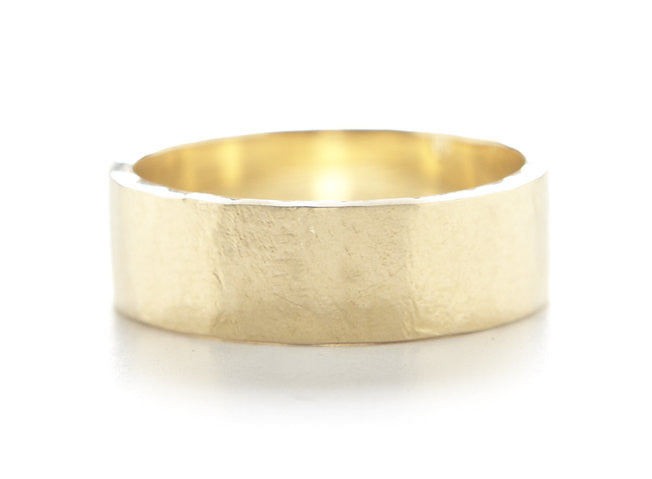 Men's Hewn Hammered 6mm Plain Band