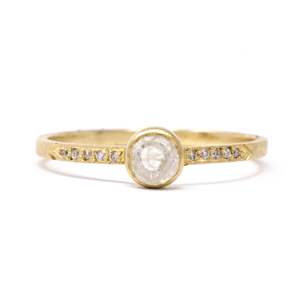 Hewn Round Small Opaque Pave Diamond Ring