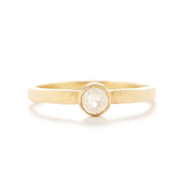 Hewn Round Small Opaque Diamond Ring