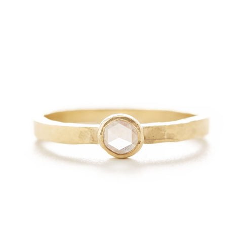 Hewn Round Small White Diamond Ring