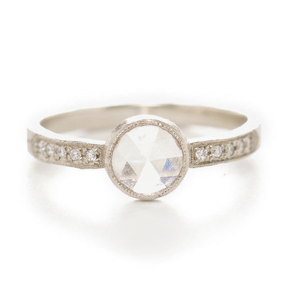 Hewn Round White Diamond Pave Ring