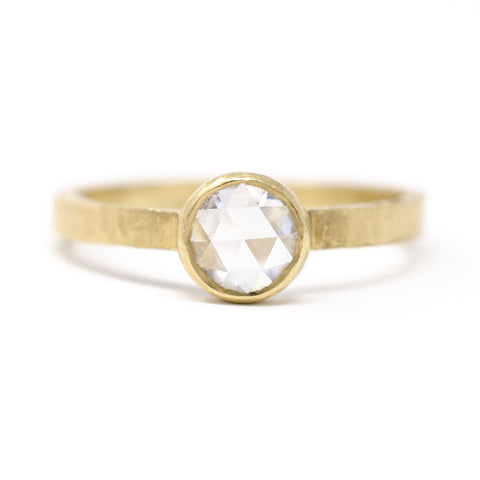 Hewn Round Medium White Diamond Ring