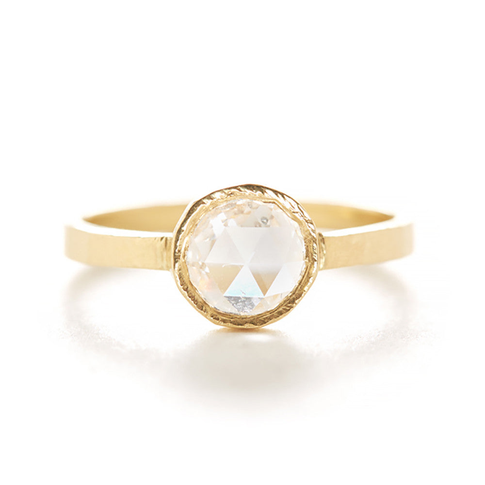 Hewn Round Diamond Solitaire Ring