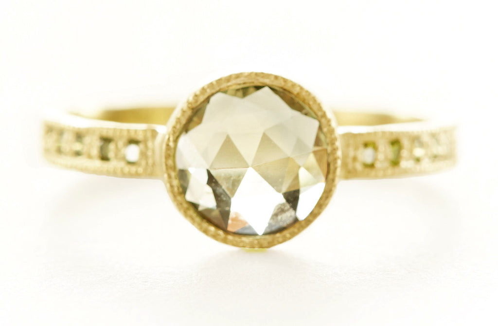 Hewn Round Green Sapphire Pave Ring