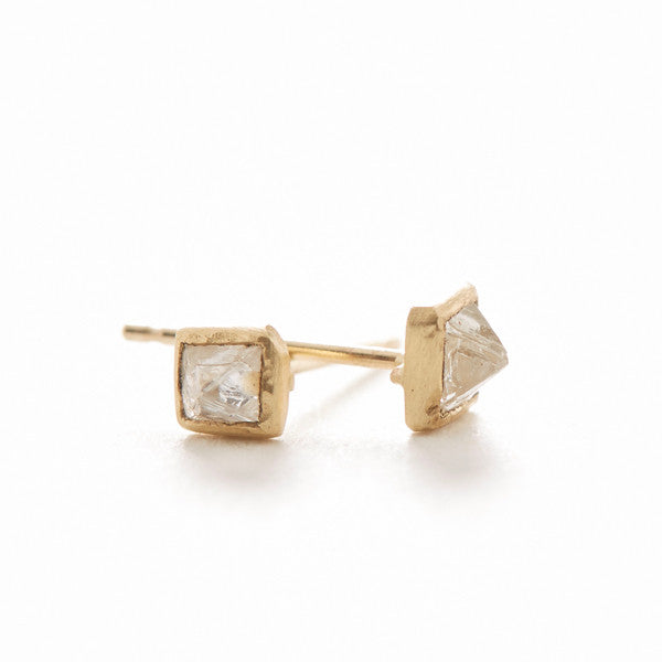 Hewn Pyramid Diamond Stud Earrings