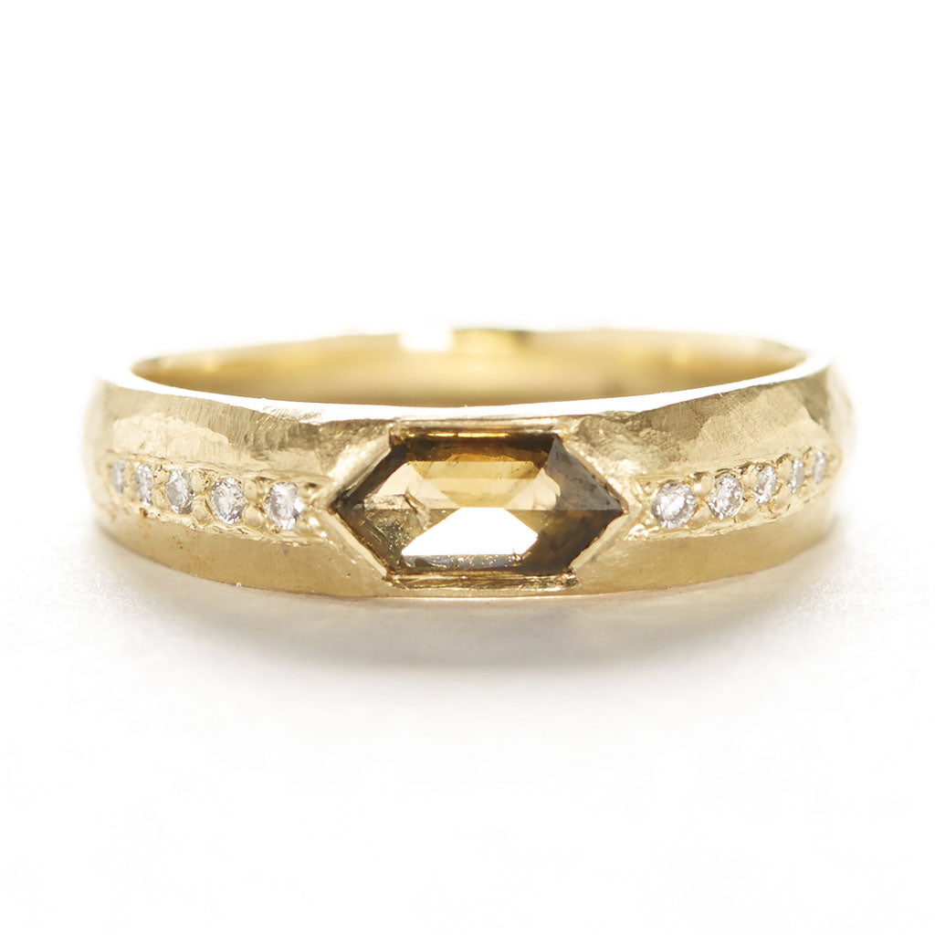 Hewn Tapered Elongated Hexagon Diamond Ring