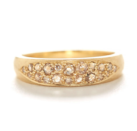 Hewn Tapered Diamond Caviar Ring
