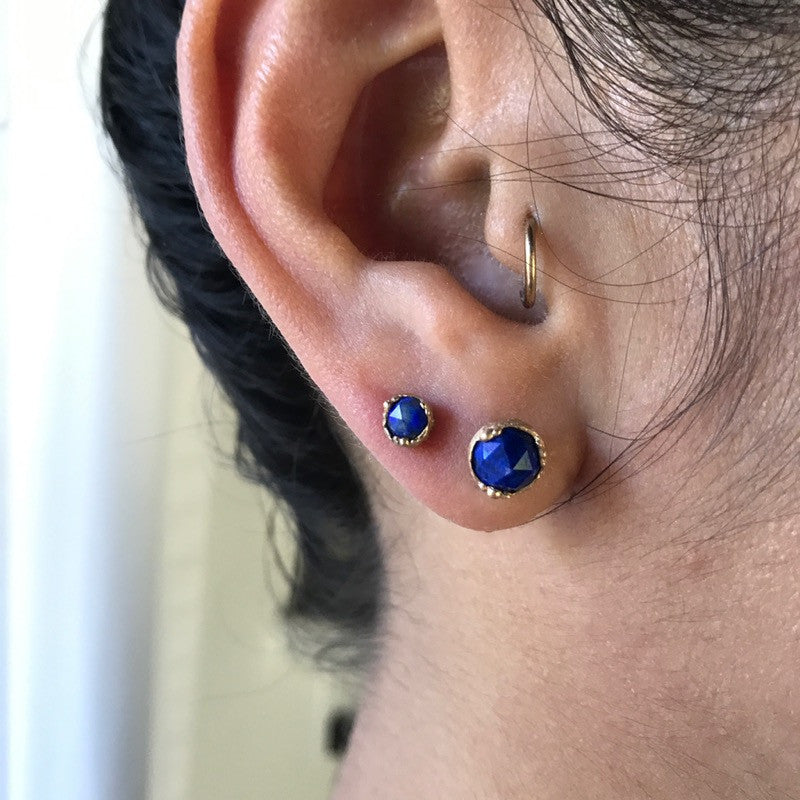 Dewdrop Lapis Lazuli Small Stud Earrings