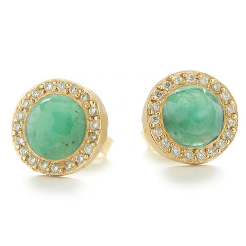 Lux Stud Emerald Earrings