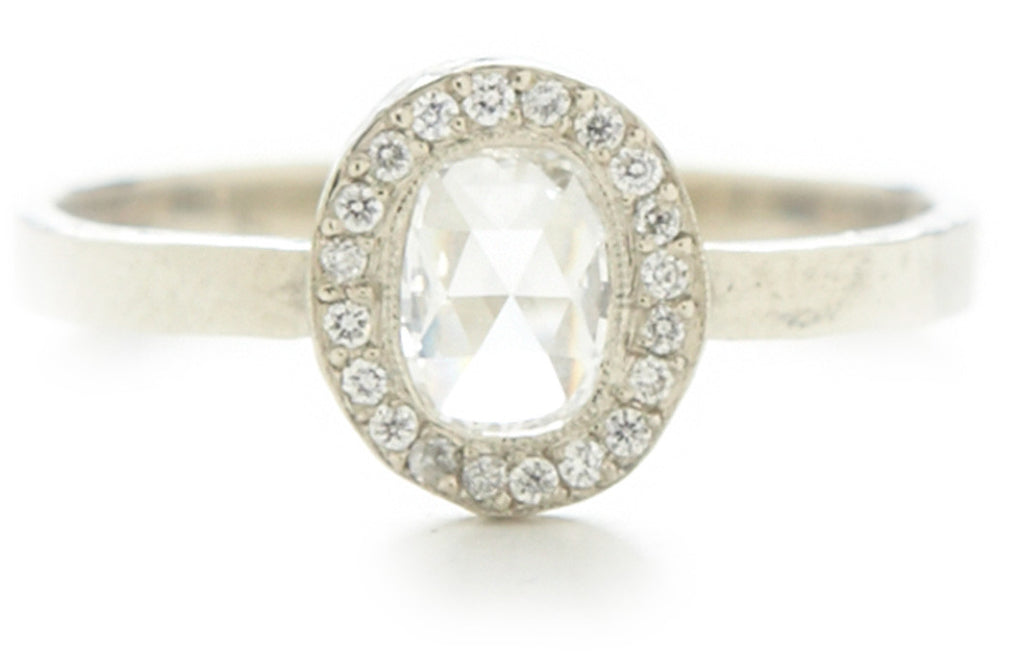 Lux Oval White Diamond Ring