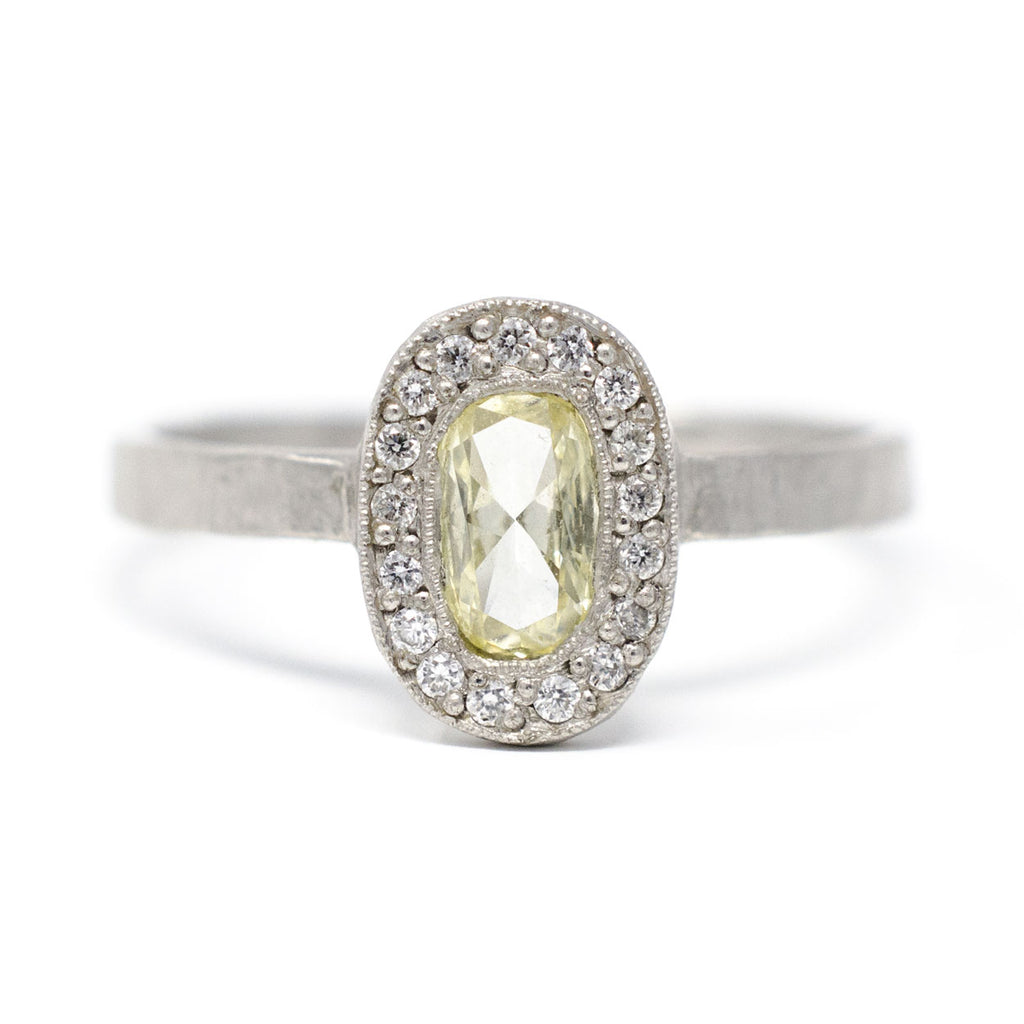 Lux Oval Platinum Yellow Diamond Ring