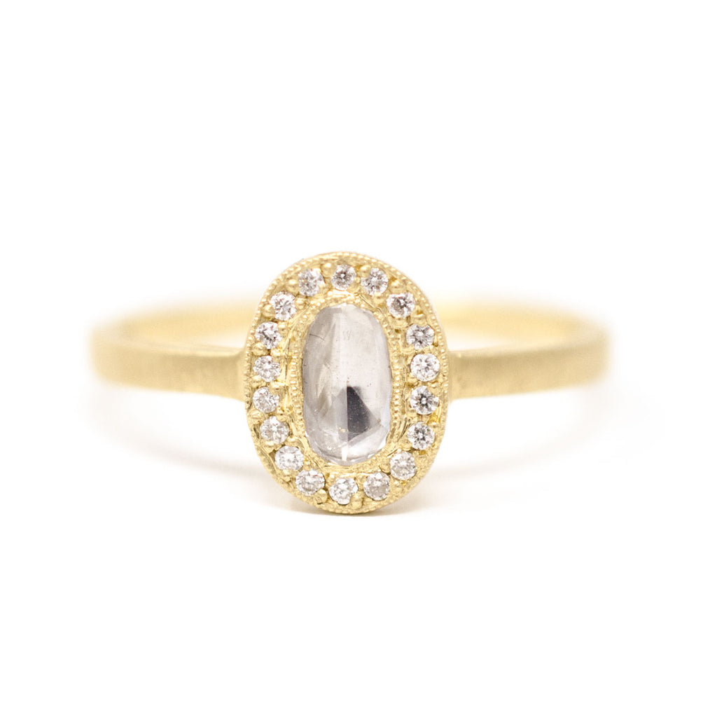 Lux Oval Dainty Diamond Ring
