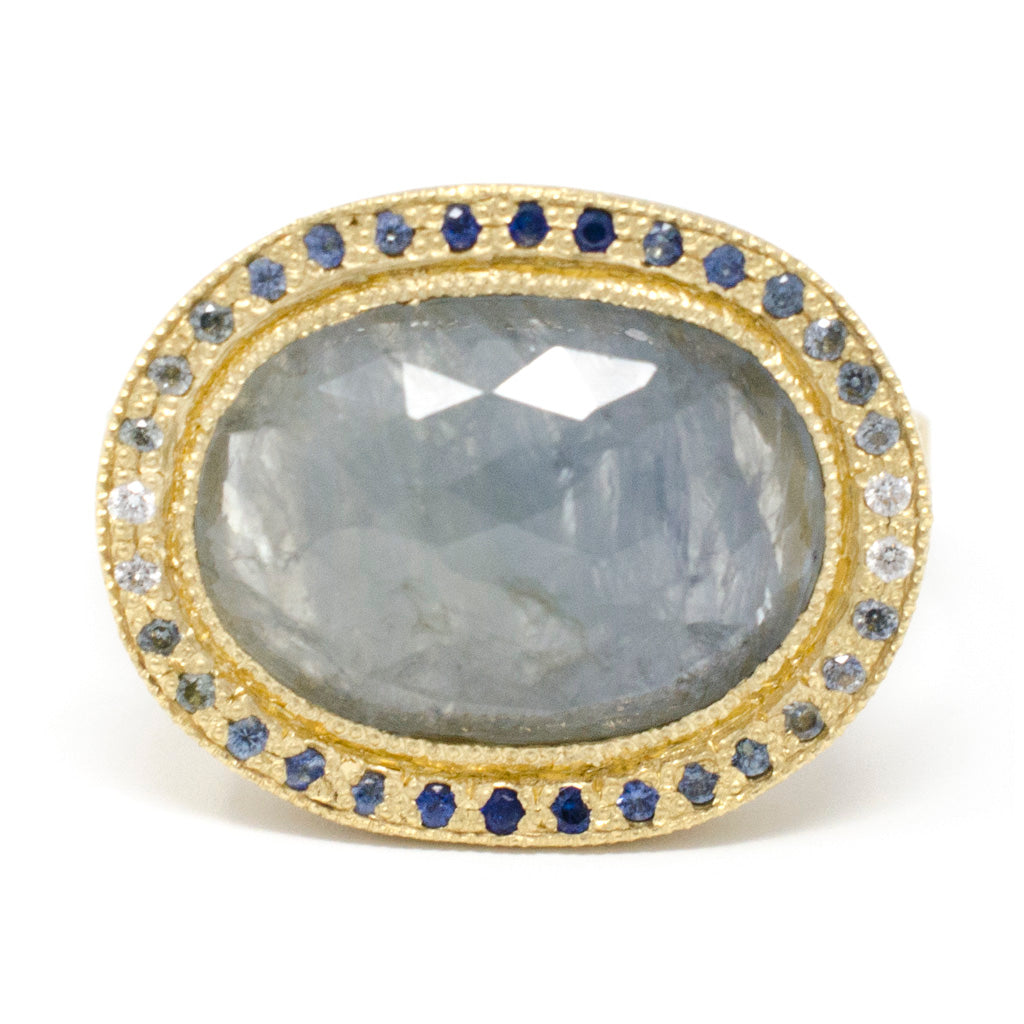Lux Plus Oval Blue Sapphire Ombre Diamond Ring