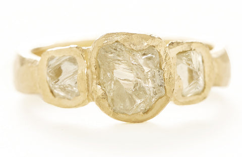Mineral Three Stone Raw Diamond Ring