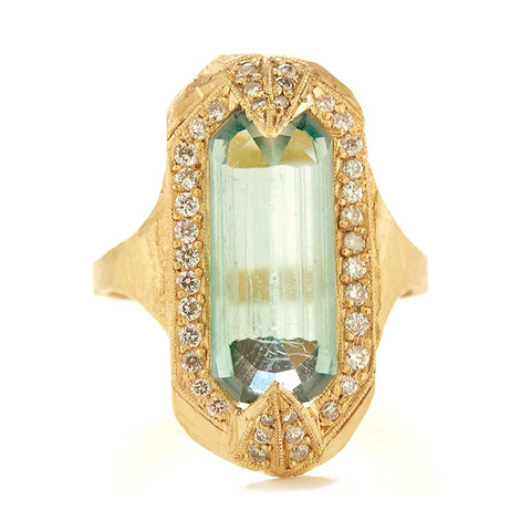 Mineral One of a Kind Raw Blue Tourmaline Diamond Halo Ring