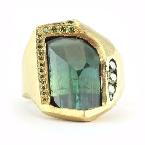 Mineral One of a Kind Green Tourmaline Ring