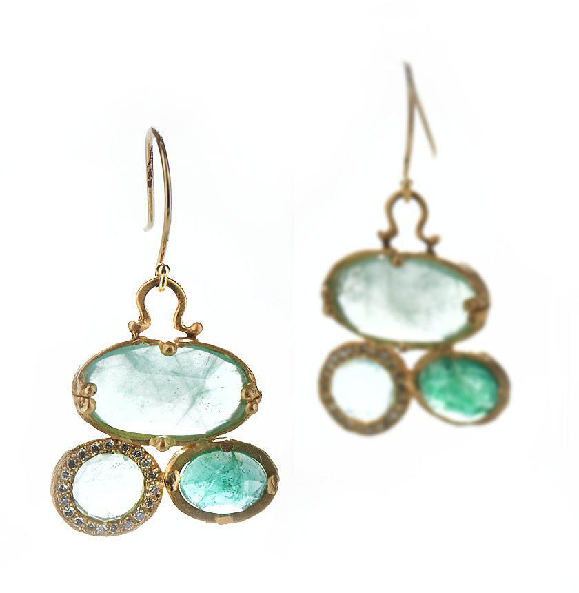 Mineral Emerald Cluster Earrings