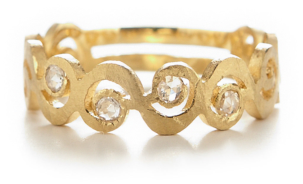 Relic Swirl Diamond Wide Band