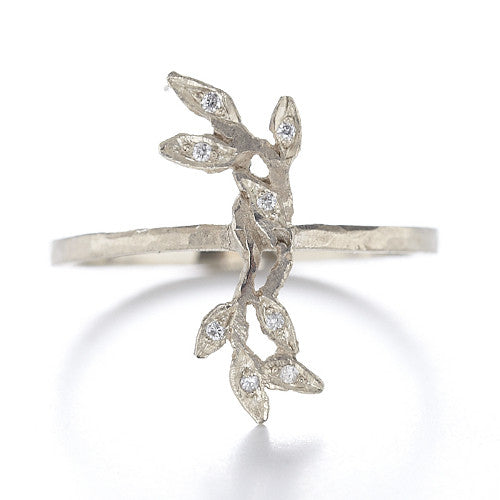 Relic Vine Line Ring with White Diamonds