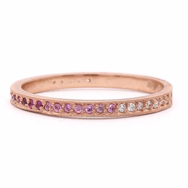 Stacking Pink Ombre Pave Diamond Band