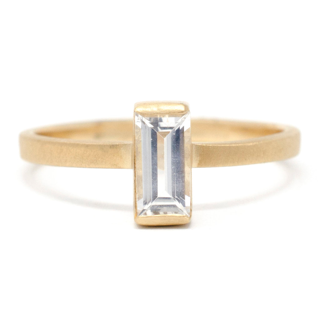 Stacking Baguette Large White Sapphire Ring