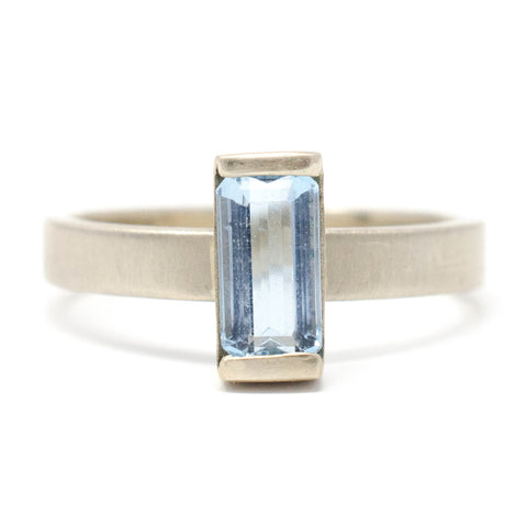 Stacking Baguette Blue Topaz Ring