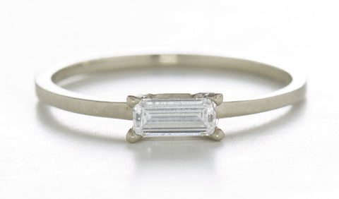 Stacking Baguette Horizontal Diamond Ring