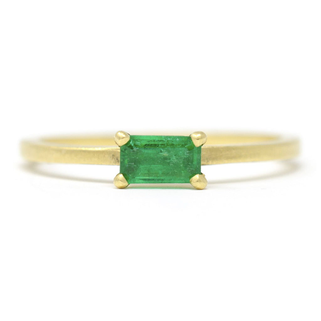 Stacking Emerald Horizontal Ring