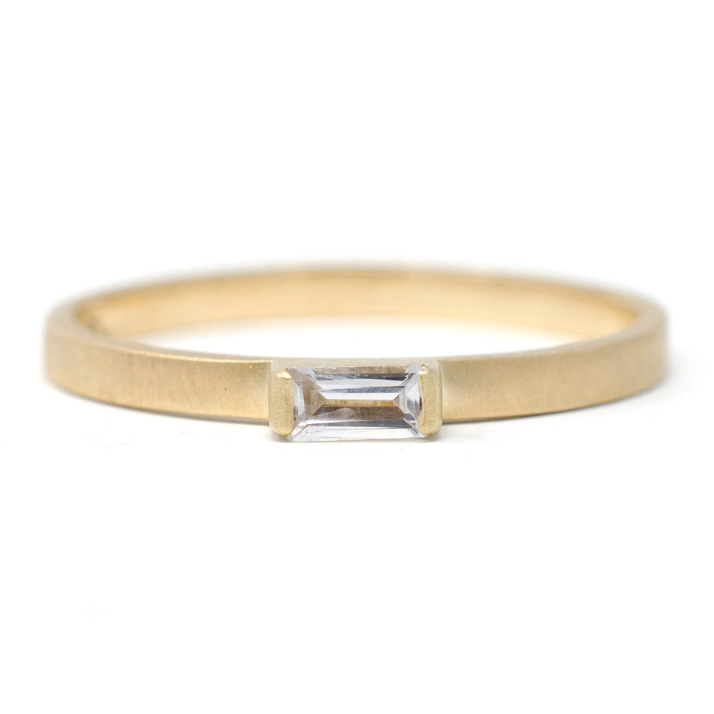 Stacking Baguette Horizontal Sapphire Ring