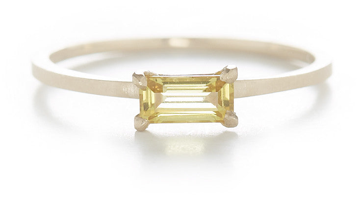 Stacking Baguette Yellow Sapphire Ring
