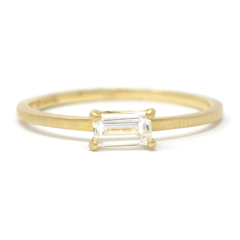 Stacking Dainty Baguette Horizontal Diamond Ring