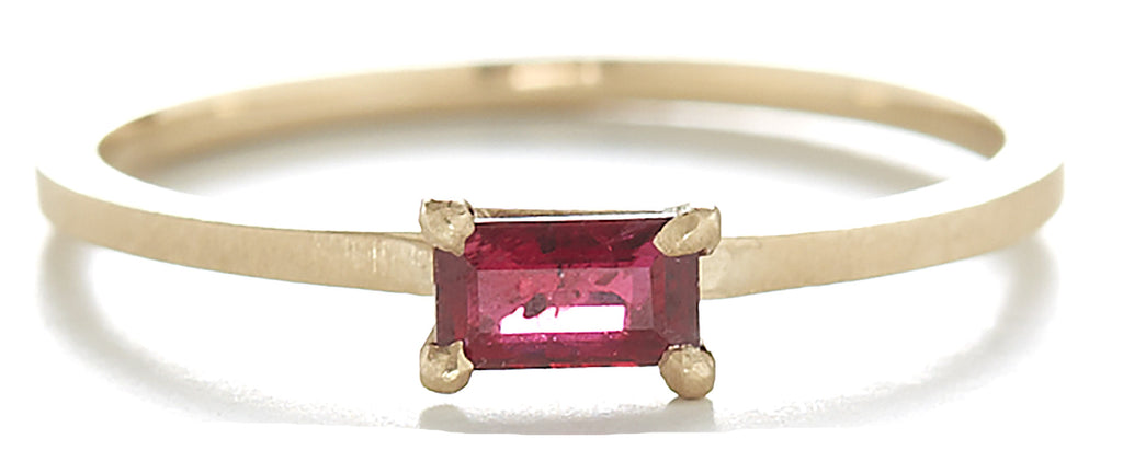 Stacking Baguette Horizontal Ruby Ring