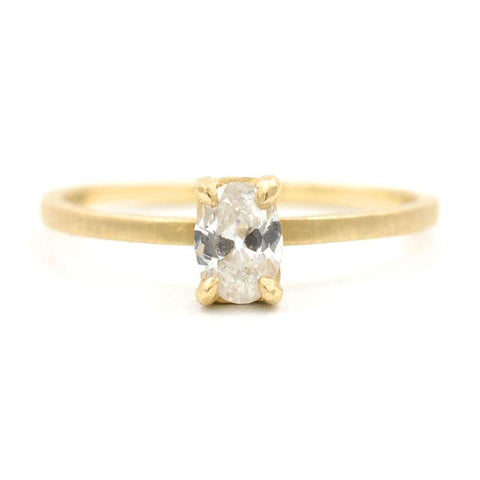 Stacking Dainty Oval Small Diamond Ring