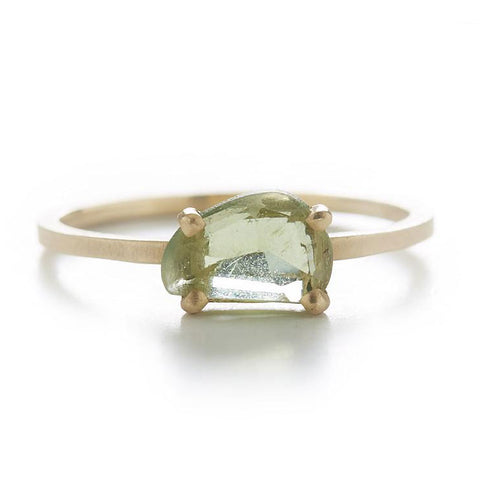 Stacking Asymmetrical Green Apatite Ring