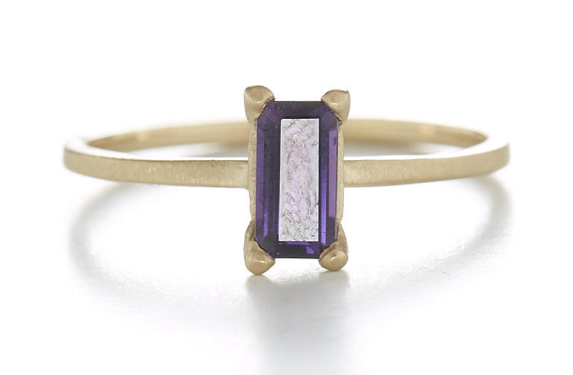 Stacking Baguette Lavender Sapphire Ring