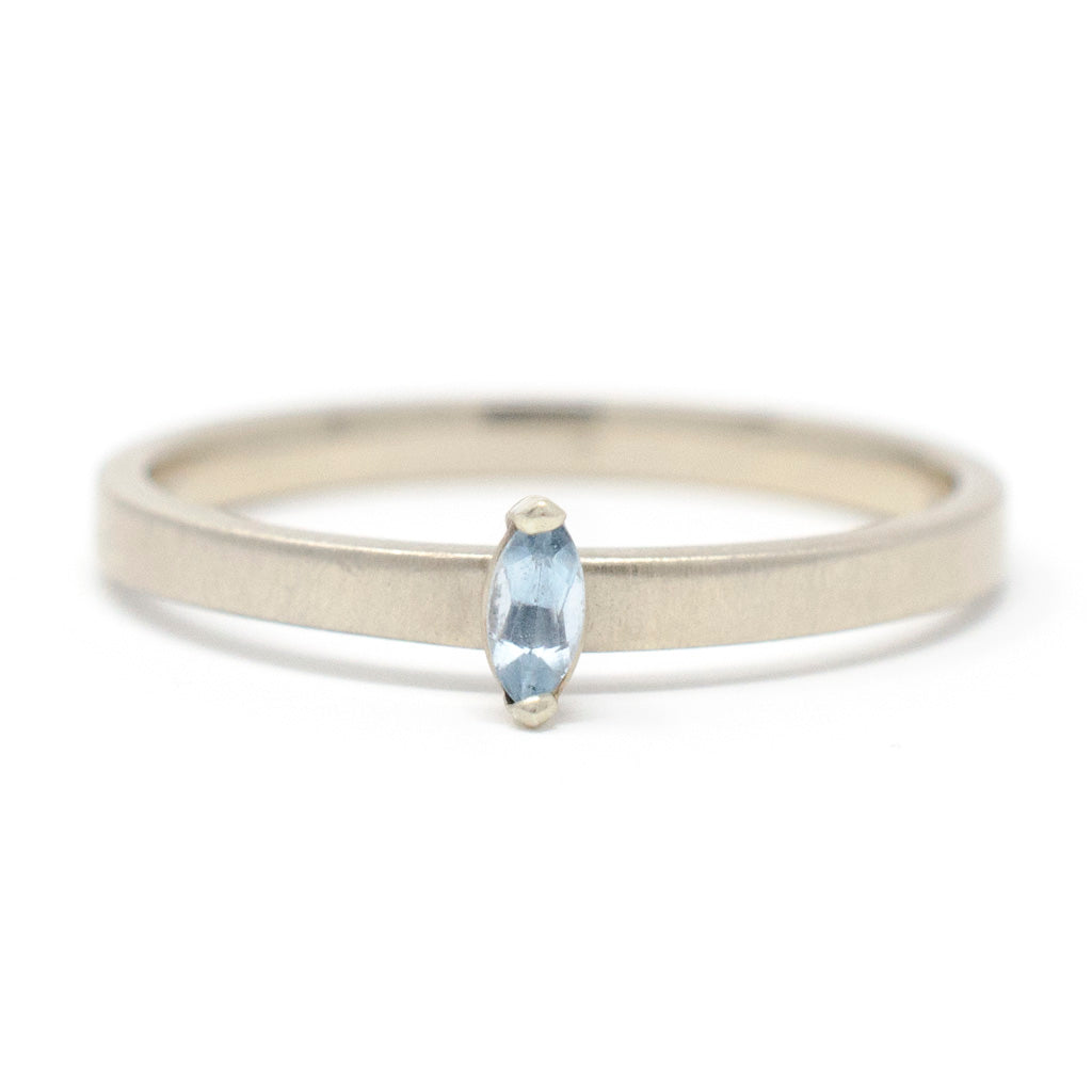 Stacking Marquise Aquamarine Ring