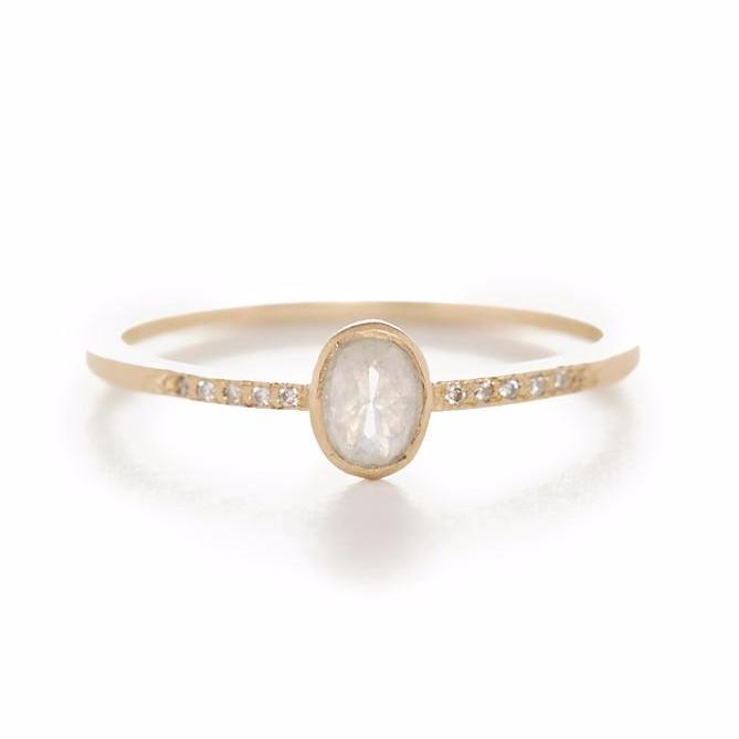 Stacking Oval Opaque Diamond Ring