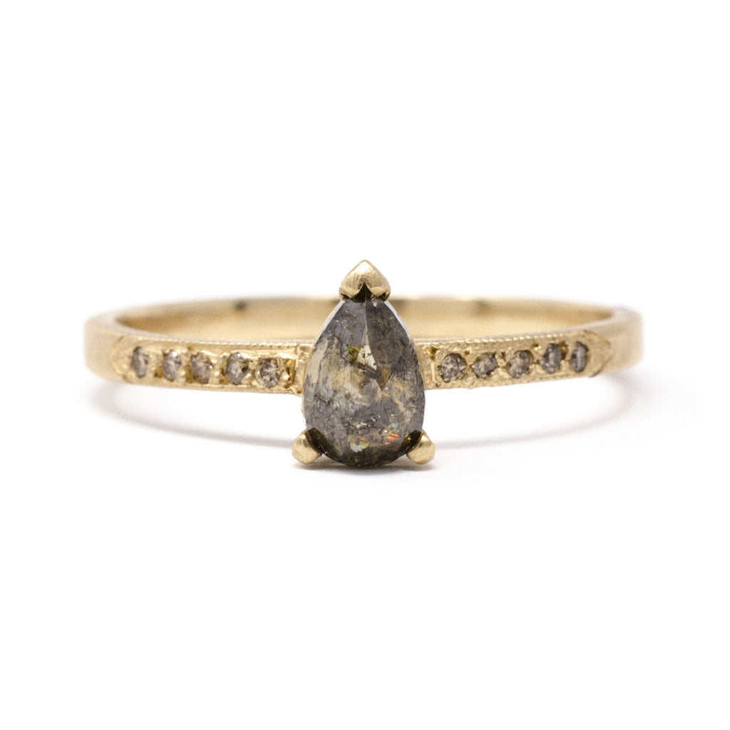 Stacking Pear Opaque Diamond Pave Ring