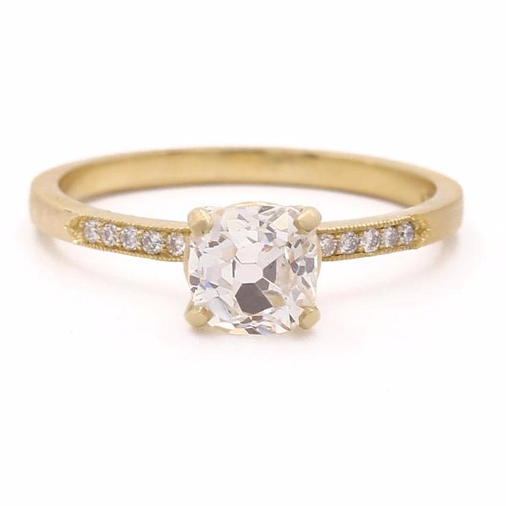 Stacking Round Old Mine Cut Diamond Ring